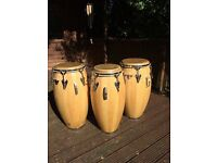 3 Lp matador conga drums. Good condition, qui to, conga, tumba. With natural cow hide heads. Bargain