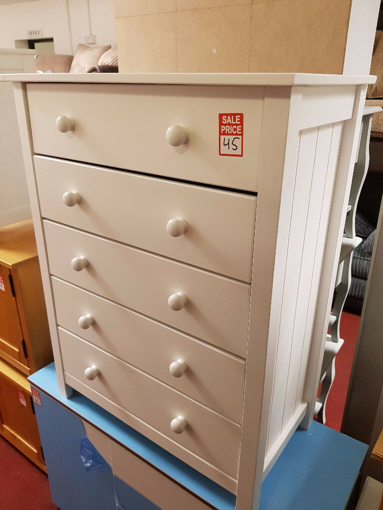 scandinavia 5 drawer chest white