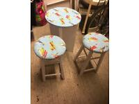 Aeroplane design table and stools