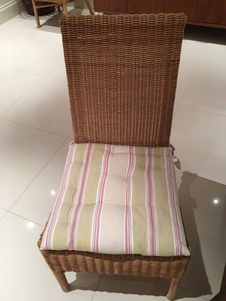 6 rattan dining chairs with John Lewis seat pads in Sevenoaks