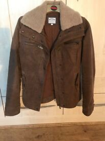 Fat Face brown leather jacket size 8