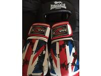 Boxing head guard and Union Jack boxing gloves