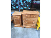 Pine Chest and Pine Bedside Cabinet - free local delivery..