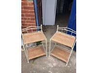 Pair of cream and wicker bedside tables