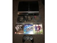 PS3 (black) - with 3 games - one controller + all cables required - GREAT CONDITION!!!!!
