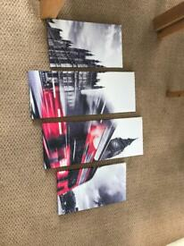 4 canvases London red bus