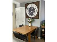 Solid oak furniture land DORSET extendable dining table seats 4 to 6 for sale