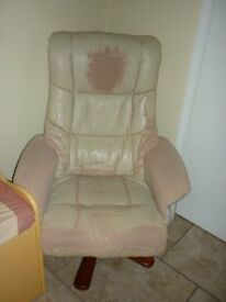 FREE - Leather swivel chair and footstool