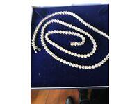 Long silver stone set chain