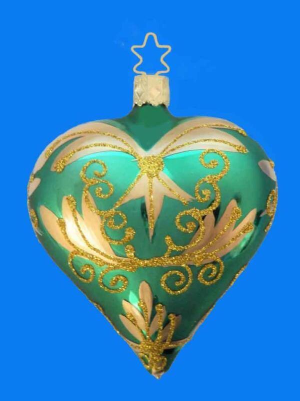 GREEN GOLD HEART EUROPEAN BLOWN GLASS CHRISTMAS TREE ORNAMENT