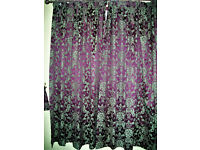 """2 pairs brand new fully lined curtains 66""""x72"""" (168cmx183cm) bergundy jaquard design"""