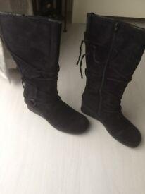 Black Hi Leg Micro fibre wedge boots, size 7 never used still in box £15
