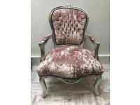 Pink shabby chic French chair