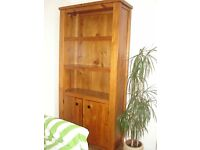 Soild pine bookcase with cupboard