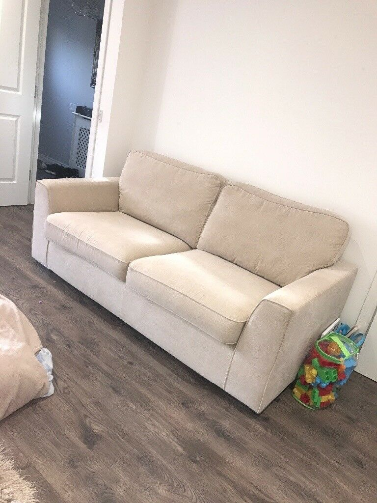 x2 3 seater cream sofas for sale