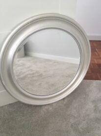 Silver IKEA circular mirror