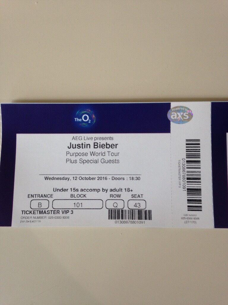 Justin Bieber Tickers In Petersfield Hampshire Gumtree