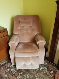 Rise and Recline Chair in dusky pink with massage function