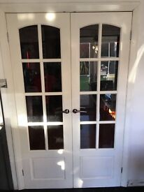 French Doors Wooden stainless handles good condition