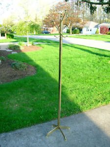 HALL TREE COAT HAT RACK Retro Brass Vtg Mid Century Modern Posh Atomic Sputnik