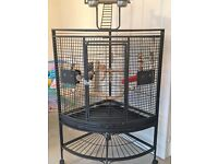 CORNER LARGE PARROT CAGE, WITH PLAYSTAND ON TOP. EXCELLENT CONDITION