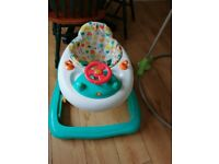 Jumperoo and walker - brilliant condition! Also white wooden crib available