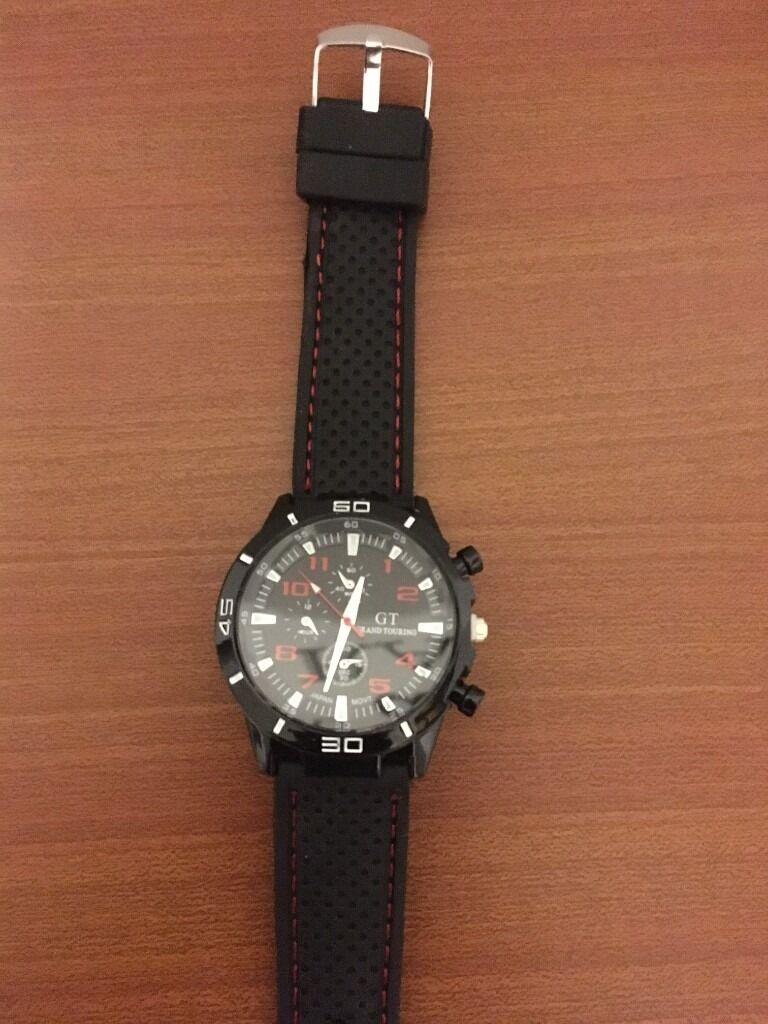 Black Red Quartz Stainless Racing Sports Quartz Wrist Watch Men S