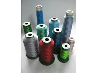 10 x part used industrial embroidery threads Madeira and King Star