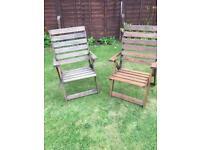 2 Folding Garden Chairs Wooden
