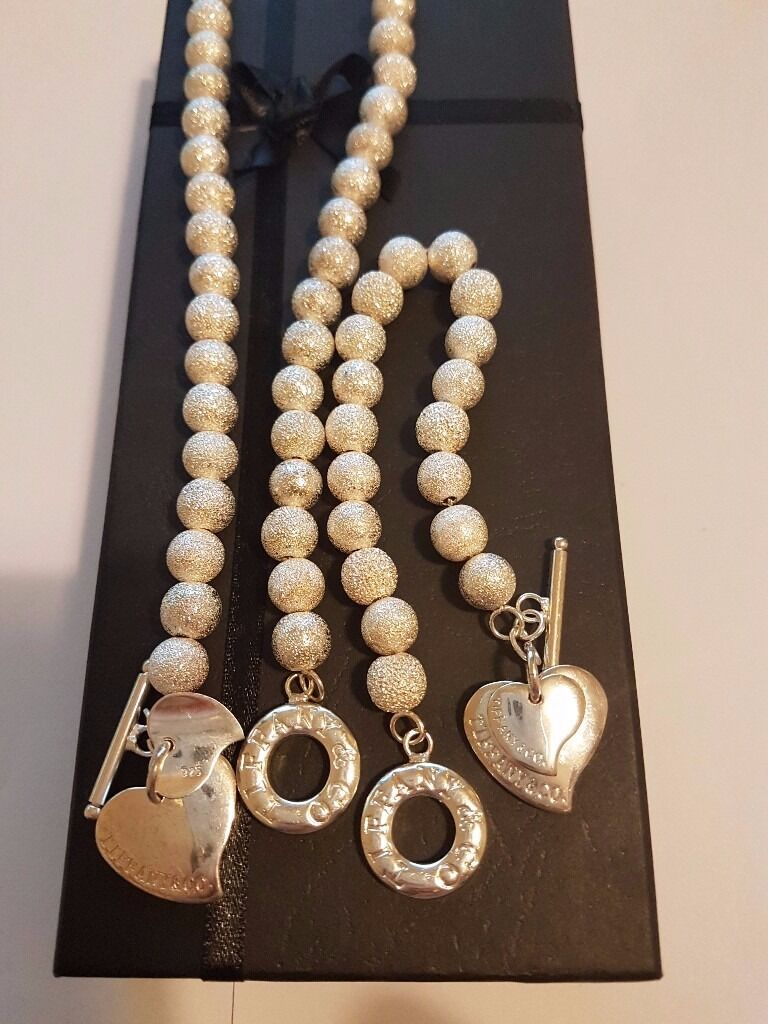Reduced Pearl Tiffany Heart Tag Toggle Necklace Bracelet Set