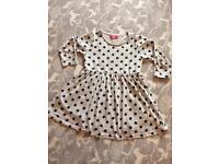 Grey and navy spotty dress