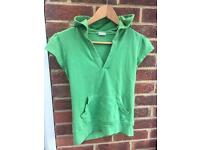 Green cap sleeved TOPSHOP hooded top