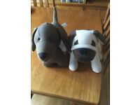 2 Weighted Door Stop Dogs 1 Dachshund type 1 Pug type