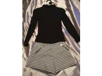 Kids black polo neck and tweed shorts age 6-7 m&s