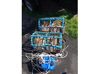 Two Crab/Lobster Pots complete with rope and marker bottle
