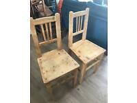 Pair of pine kitchen chairs