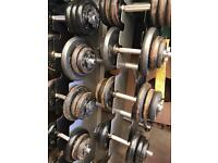 Cast iron gym weight plates Dumbells long bar ez bar d bar