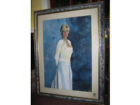 TWO VERY LARGE ORNATE PICTURE FRAMES CURRENTLY PAINTINGS OF PRINCESS DIANA
