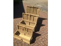 3 x Wicker Storage Boxes