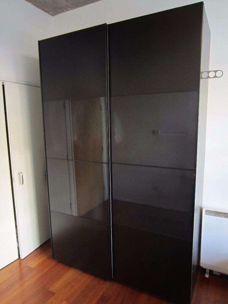 Ikea pax wardrobe black brown 150x66x236 cm in for Ikea pax wardrobe instructions
