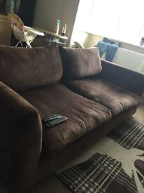 Brown suede sofa with Swivel cuddle chair