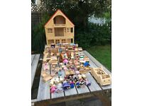 Wooden dolls' house, furniture, car and figures