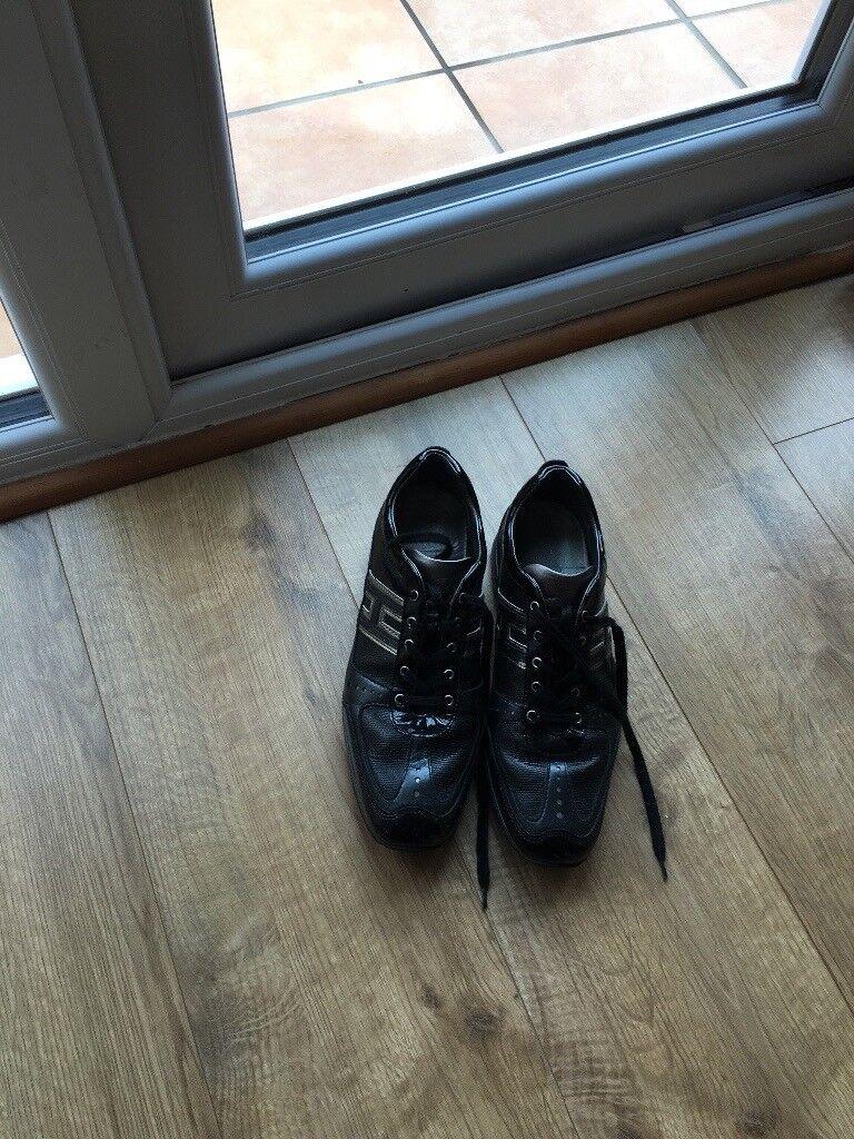 f0b82910bd8 Hogan interactive sneakers. Black & Silver lizard skin & patent leather.  Hardly worn VGC!!