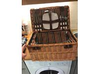 Wicker Picnic Basket - with crockery, cutlery and champagne glasses