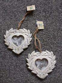 2 Small Resin Hanging Heart Frames