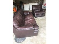 3 seater leather settee and armchair recliner for immediate free collection