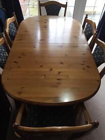 Ducal Dark Pine Dining Table & Matching Sideboard + 6 Chairs inc. 2 Carvers