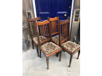 4 Mahogany Splat Back Chairs , easy to replace seat covers . Free Local Delivery.