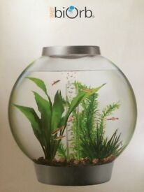 biOrb Fish Tank 15L - Ready to Use - Include LED light , Quite Pump, Stones, Plants in Original Box