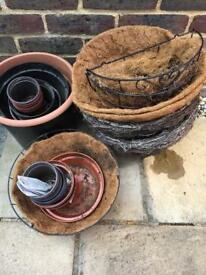 Selection of plant pots, hanging baskets and liners